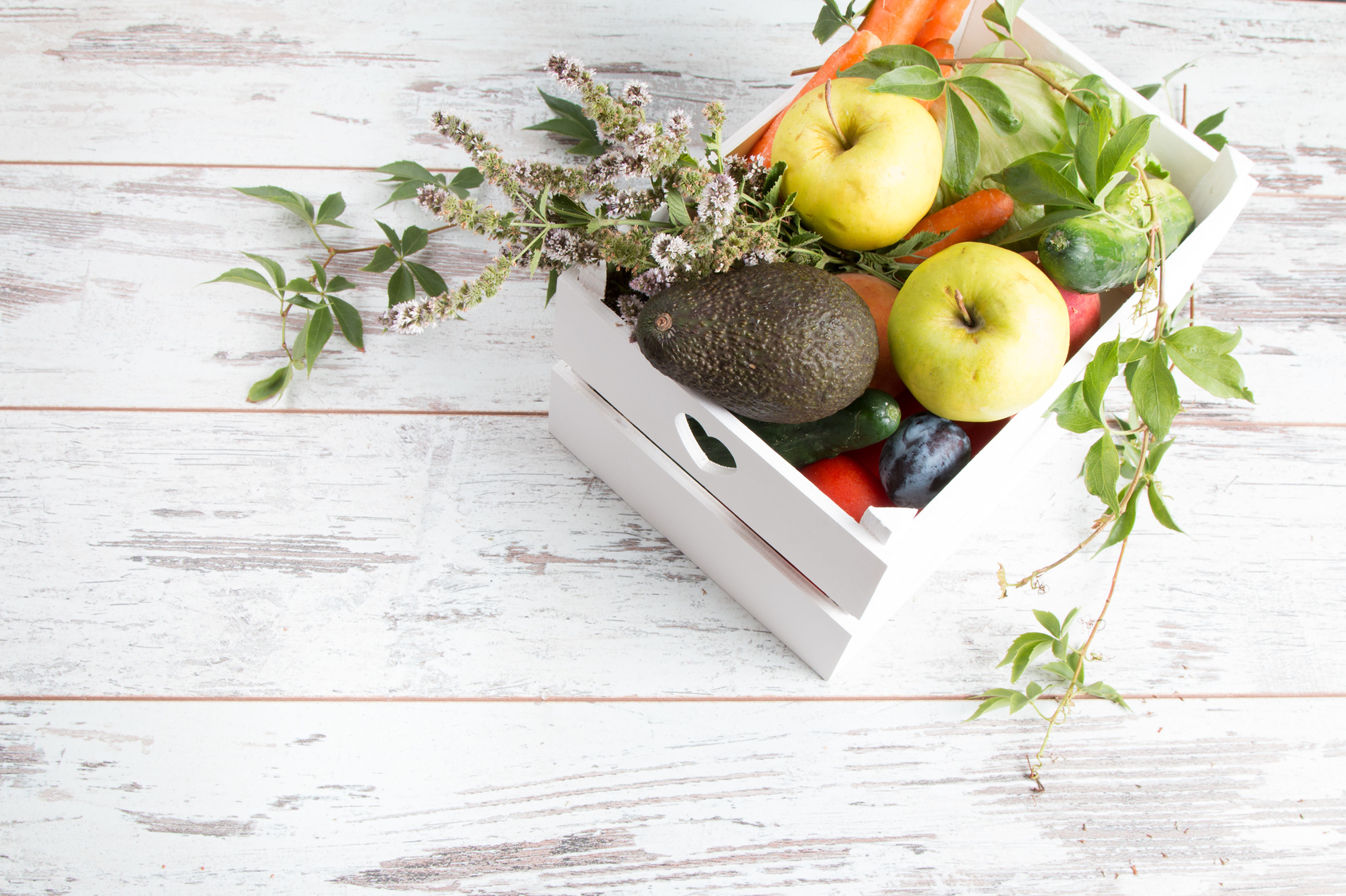 Zero Waste Home, Vegetable And Fruits In White Bag On Wooden Table.